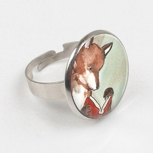 2019 Fox ring Book Jewelry Reading Fox Bibliophiles Librarians Watercolor Art ring Book print glass ring все цены