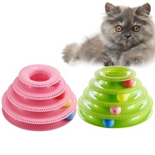 4 Layers Funny Cat Toys Crazy Ball Disk Anti-slip Interactive Amusement Plate Triple Turntable Play Disc Small Pet Toy For Cat все цены