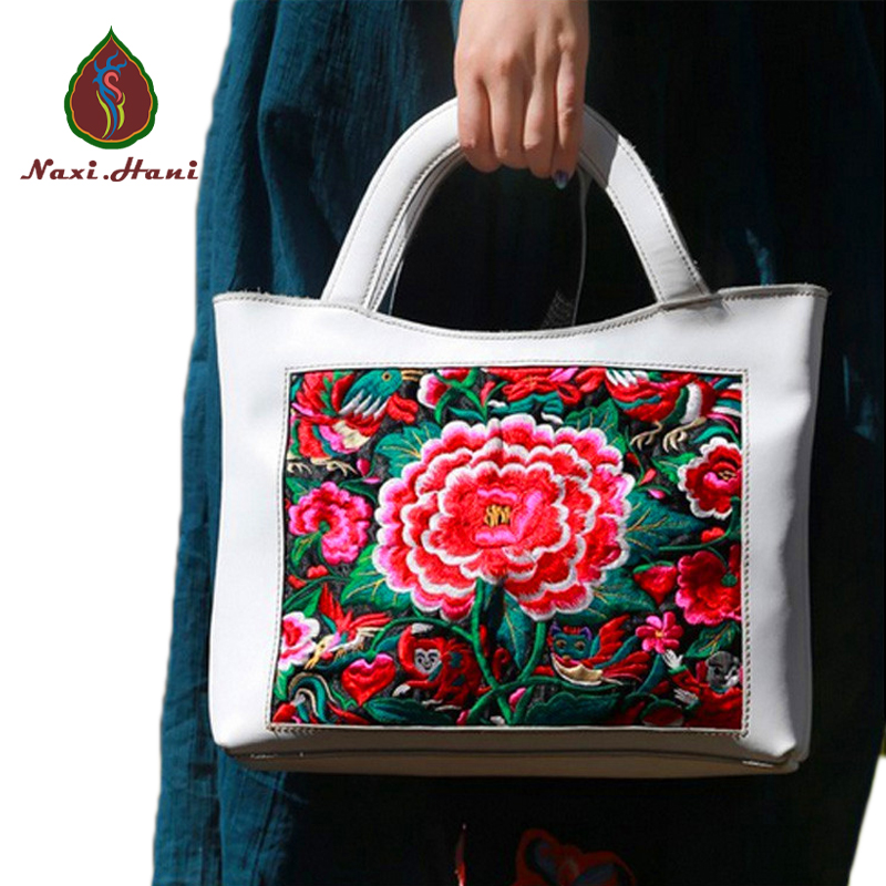 HOT SALES Ethnic White cow leather embroidered Totes Retro casual travel messenger bags  Naxi.Hani Original brand women bags ethnic embroidered black cami dress for women