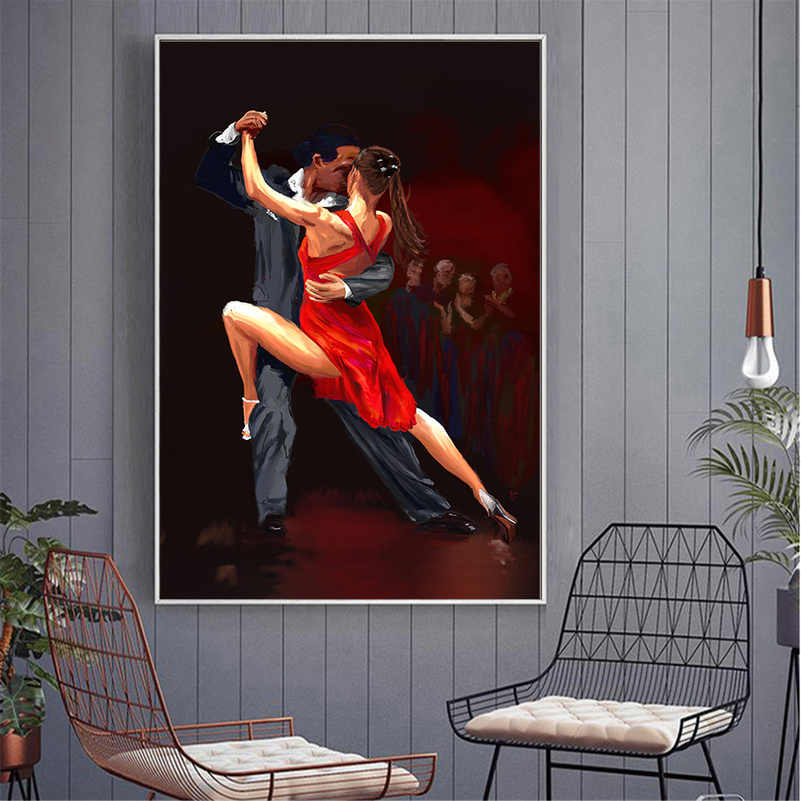 Abstract Oil Painting Dance Posters Vintage Tango Home Decoration Wall Art Pictures Charming Women Party DANCER Art