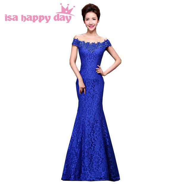 Королевский синий цвет с открытыми плечами вырезом лодочкой Русалка Кружева  2018 с длинным невесты вечернее платье ccee9a38508