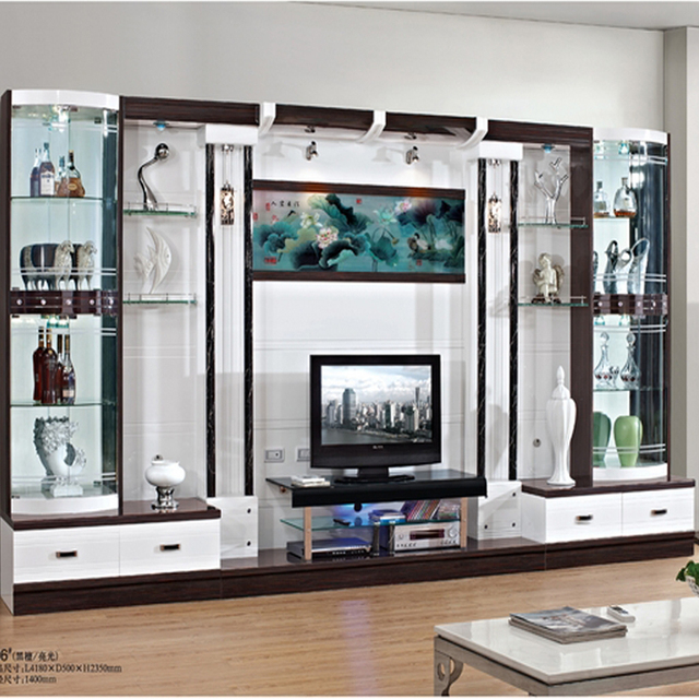 Modern Brief Fashion Cabinet Parion Gl Office Display Tv Combination Wine Cooler