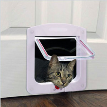 Pet Supplies Controllable White Cat Small Dog Flap Doors 4 Way Kitten Dog Safe Pet Door
