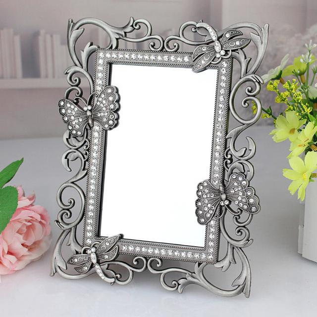 Delicieux Rectangle Antique Pewter Crystal Jeweled Butterfly Dragonfly Decor Metal  Framed Tabletop Mirror