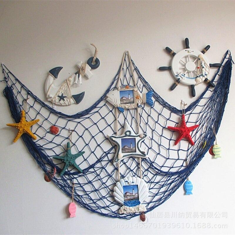 3D приморский пляж Shell партии двери наклейки висит украшение дома украшения дома морской декоративная рыболовная сеть