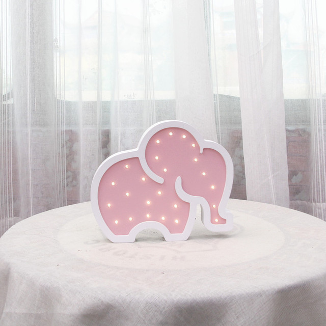 Wooden Elephant Led Bedside Lamp