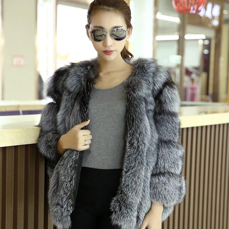 Mince Plein Femmes Vêtements Veste 2016 Mode Manteau Manteaux Hiver Pelt Argent Femelle Renard Fourrure Nouvelle Outerwearr Warmful D10 De xPSqAHqX