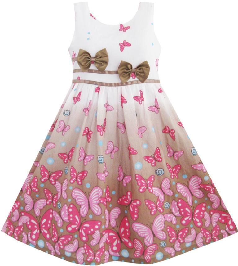 b08a6e349ee7b Girls Dress Brown Butterfly Double Bow Tie Party Kids Sundress 2016 ...