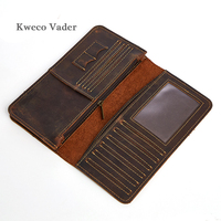 Kweco Vader Brand Crazy Horse Leather Purse Handmade Leather Wallet Men Leather Wallet for Credit Cards Portefeuille Homme