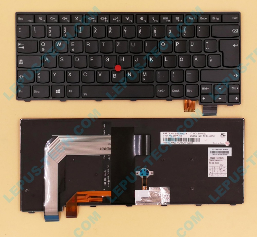 New For LENOVO for IBM for Thinkpad New T460P T470S T470P S2 T460S GR German DE Backlit Keyboard