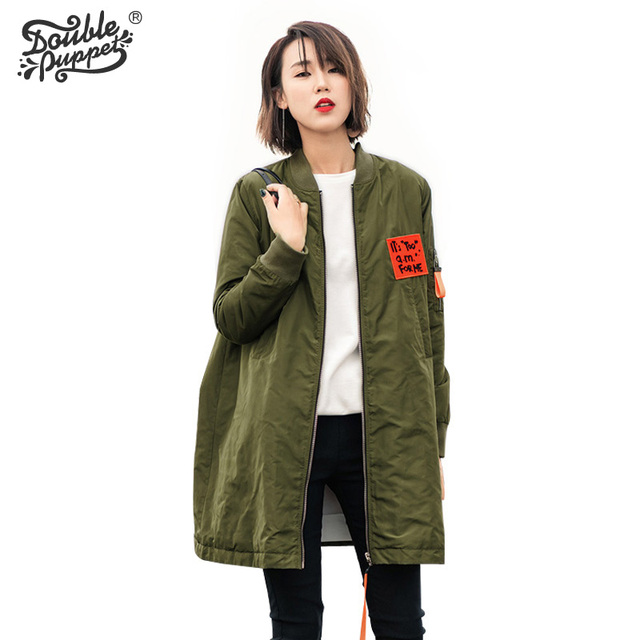 Double puppet 2017 new winter high quality keep army loose casual long green full sleeve cotton-padded clothes women 363021