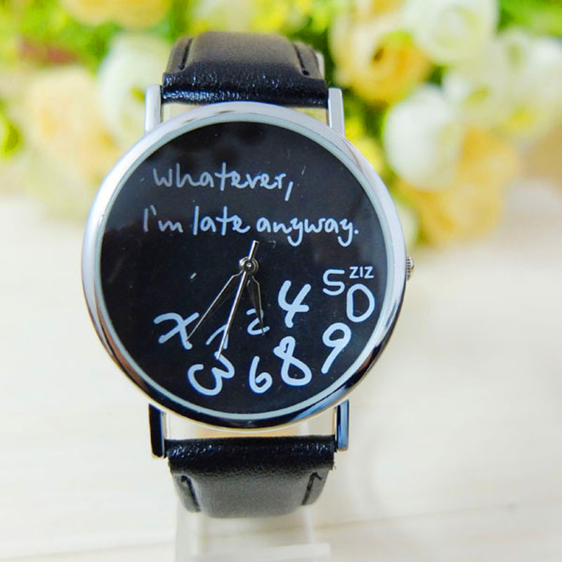 OTOKY Fashion Women Leather Watch Whatever I am Late Anyway Letter Watches Dropshipping Dec25 lovesky 2016 new arrival women pu leather watch who cares i am late anyway letter watches wrist watch free shipping