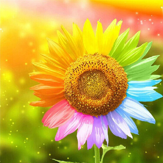 2015 real new colorful sunflowers 5d diy diamond painting cross