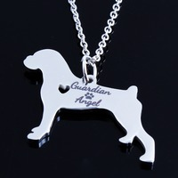 18K Gold Silver Guardian Angel Dog Pet Choker Chain Collar Boxer Necklace Jewelry Collier Femme Bijoux
