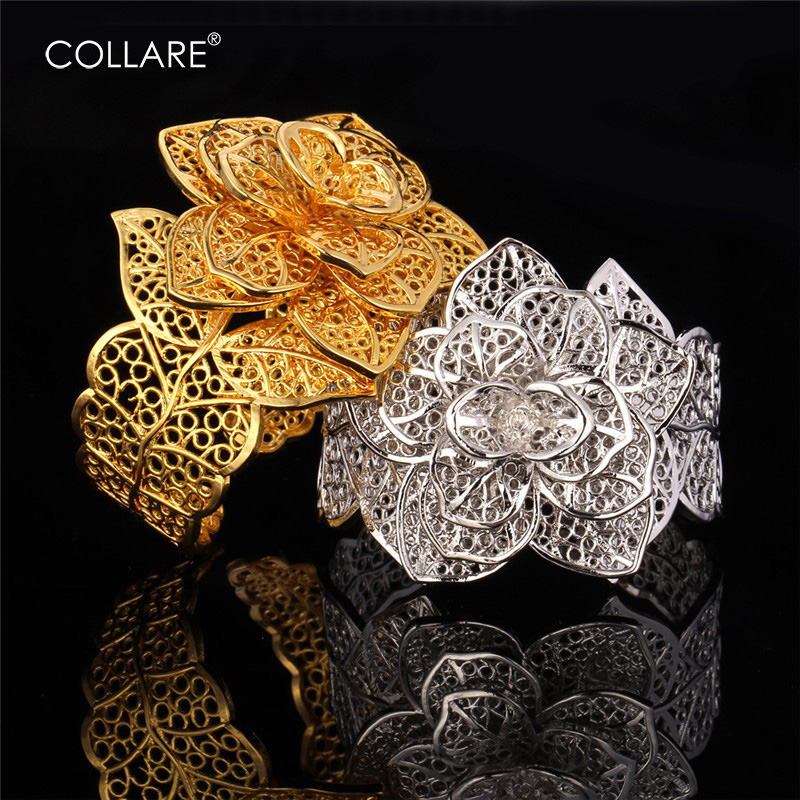 Collare Luxury Wedding Bracelets Ring Set Women Gold/Silver Color Flower Wedding Bridal Gift Jewelry Sets For Women S111