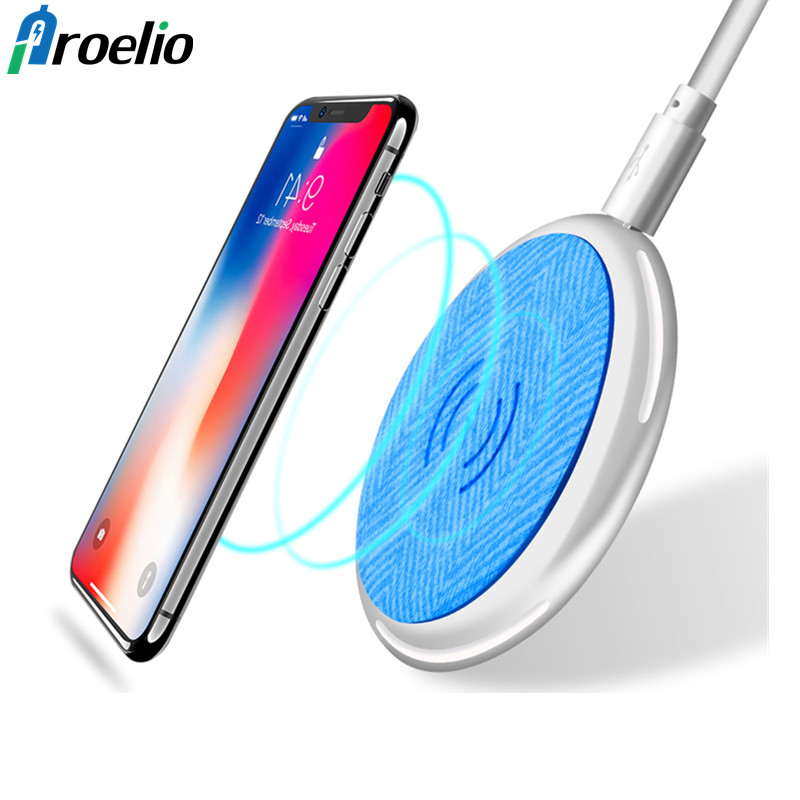 Proelio Qi Wireless Charger For iPhone X 8 8plus Samsung Note 8 S9 S8 Plus S7 S6 Edge Smart Phone Fast Wireless Charging Pad