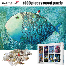 MOMEMO The Big Fish Puzzle 1000 Pieces 2mm Thick Adult Wooden Puzzle 1000 Pieces Landscape Figure Jigsaw Puzzles Children Toys momemo the ancient maps 1000 pieces wooden puzzle 2mm thick jigsaw puzzles adult assembling 1000 pieces jigsaw puzzle toys