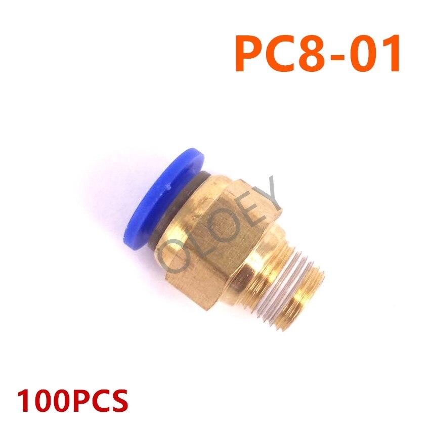 100 pièces PC8-01 connecteur pneumatique pour tuyau d'air raccord rapide à une touche raccord en laiton Tube de tuyau grande remise