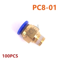 100PCS PC8 01 Pneumatic Connector For Air Pipe One Touch QUICK Coupling Brass Fitting Hose Tube Big Discount
