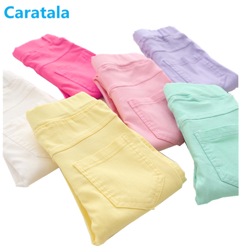 Caratala 8 colors Good Quality Children Pants Girls Pants Solid Candy Color Causal For  Girls Leggings solid rolled hem pants