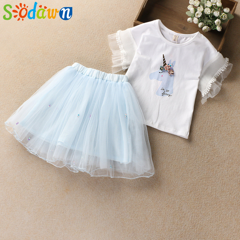Girls Clothes Fashion Bell Sleeve Girls Clothes Set 2018 Summer Cartoon Design Cotton T-shirt + Short Skirt 2pcs Kids Clohting 2pcs children outfit clothes kids baby girl off shoulder cotton ruffled sleeve tops striped t shirt blue denim jeans sunsuit set