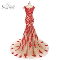 New Backless Long Mermaid Formal Evening Dresses 2017 Transparent O Neck Red lace Applique Tulle Long Prom Dress Party Gowns