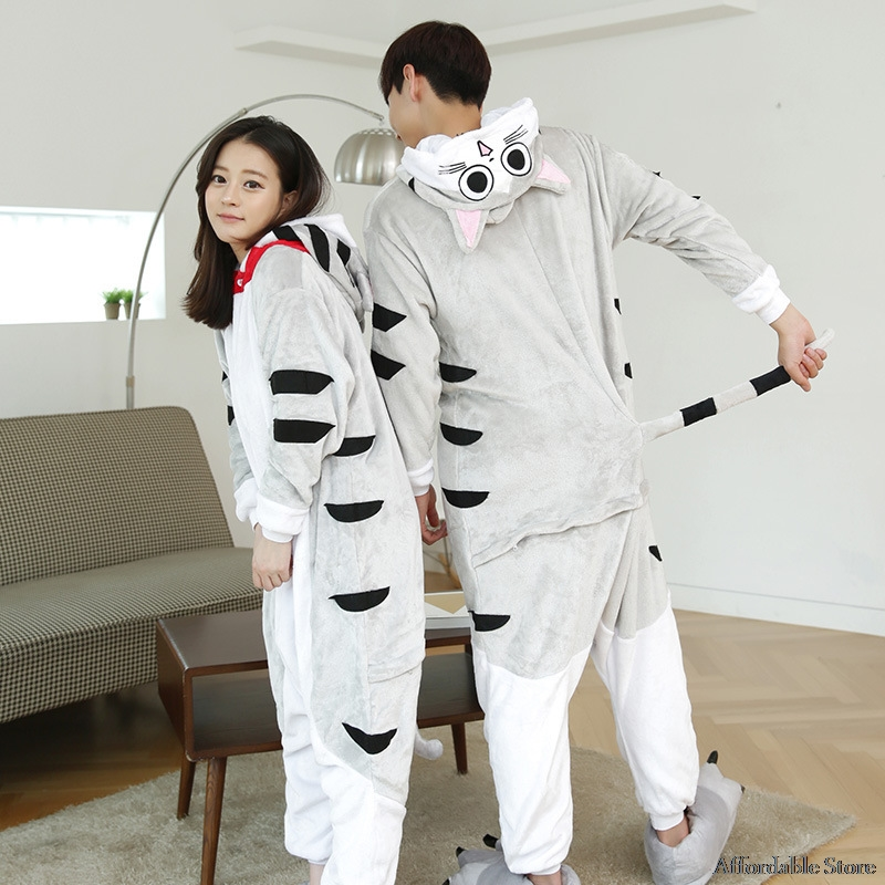 Cheese Cat Unisex Adult Flannel Hooded Pajamas Cosplay Cartoon Animal Onesies Sleepwear For Women Men
