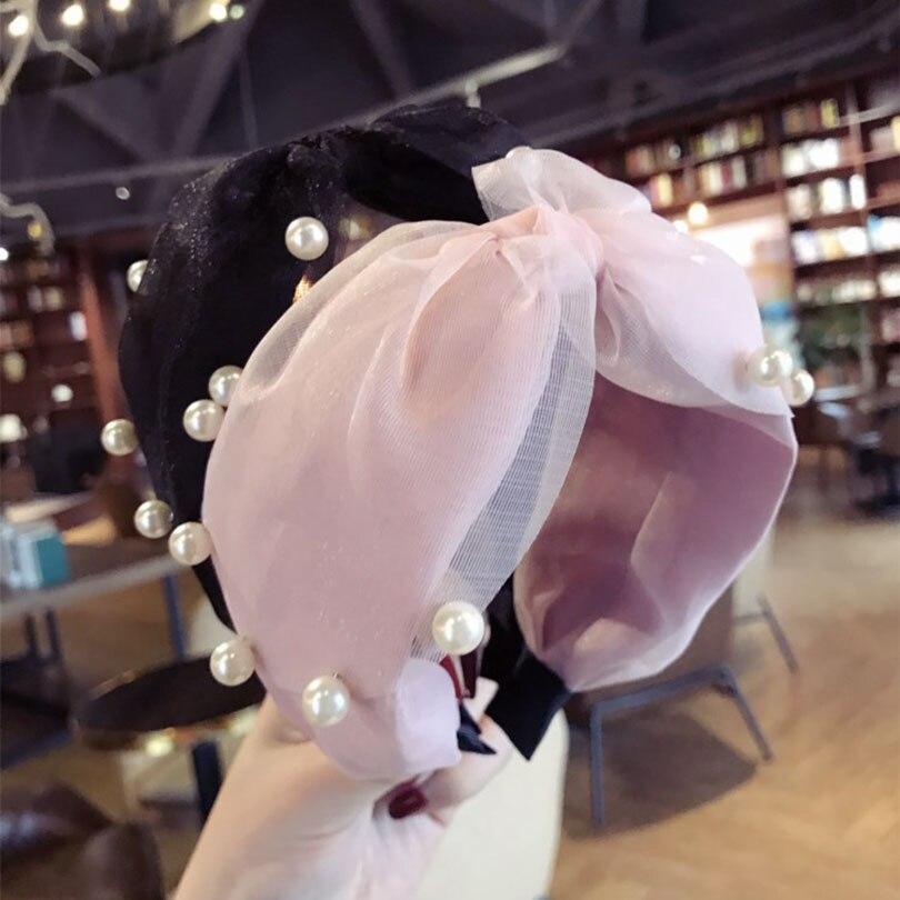Haimeikang Hand Made Retro Haar Zubehör Haar Bögen Kristall Krone Haarband Stirnbänder Für Mädchen Perle Garn Headwear Elegante Form