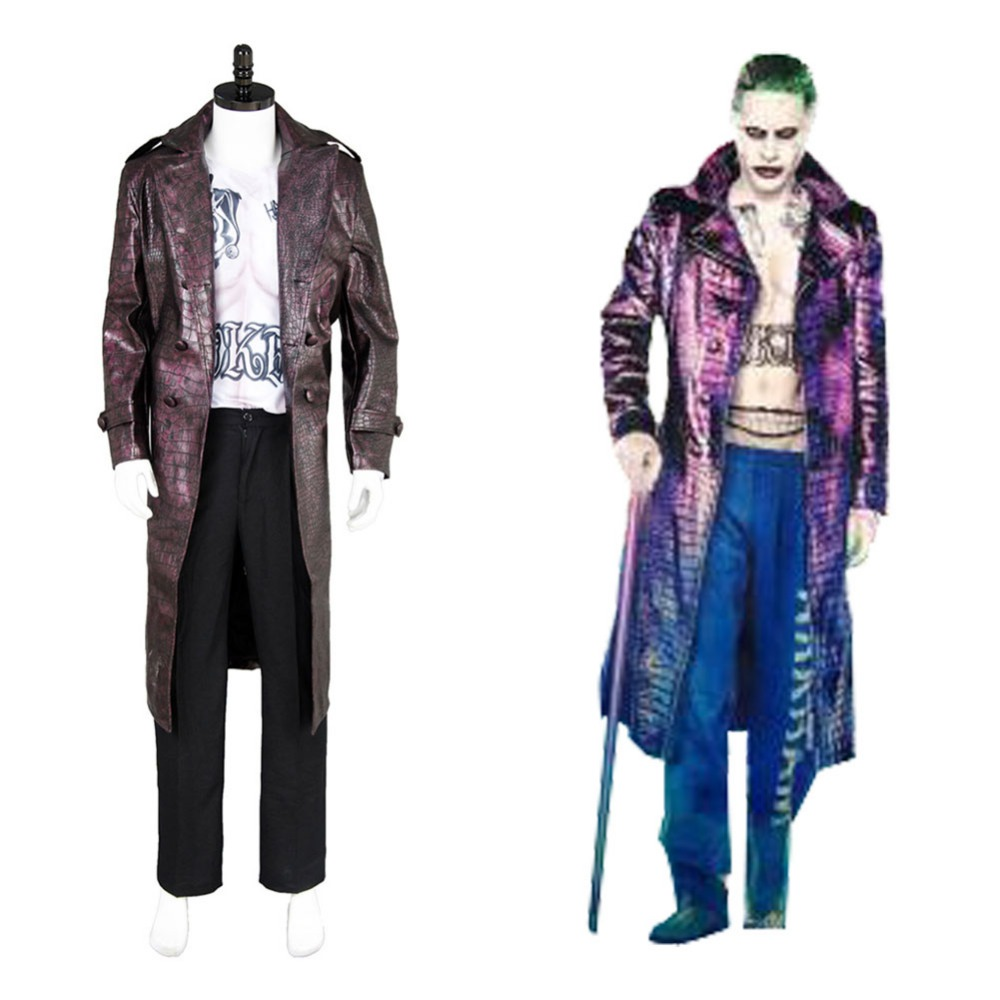 Us 98 1 10 Off Adult Batman Harley Quinn Suicide Squad Jared Leto Joker Coat Cosplay Costume Suits Custom Made Coat In Movie Tv Costumes From