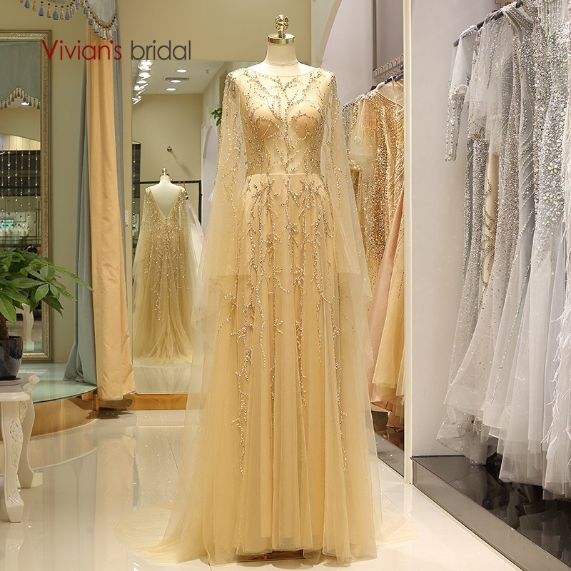 Vivian's Bridal Fashion Golden Tulle A line Formal Evening Dress Luxury Whole Hand Made Sequin Beading Crystal Appliques Gowns