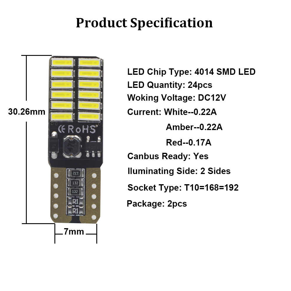 YHKOMS 2 Pcs T10 LED Bulb W5W 194 168 LED Lamp 4014SMD White Amber Yellow Red Car Dome Interior Reading Bulb 12V Canbus