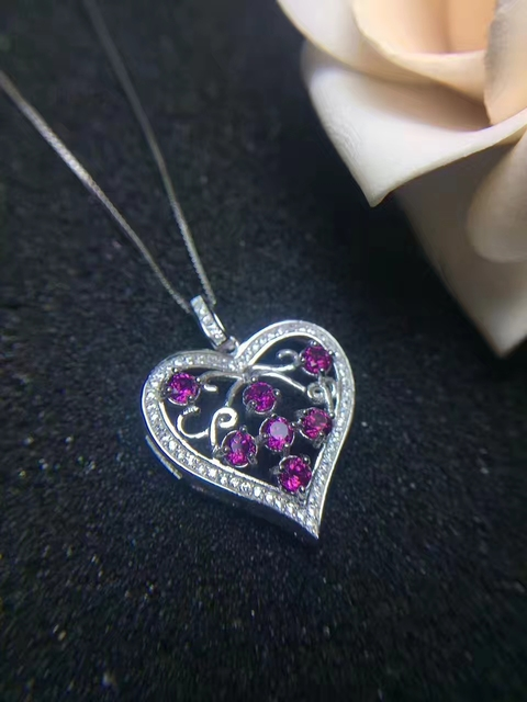 Aliexpress buy natural red garnet pendant s925 silver natural natural red garnet pendant s925 silver natural gemstone sweet romantic heart shape pendant necklace women gift mozeypictures Gallery