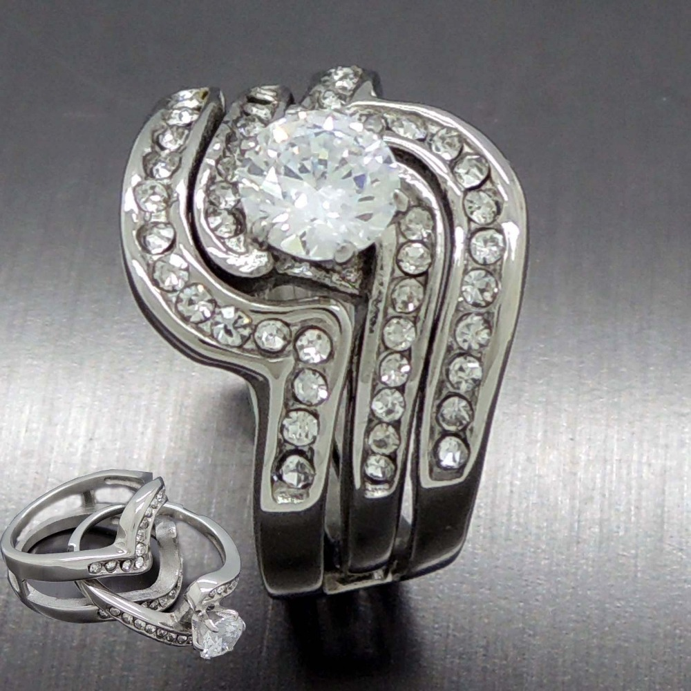 Hot 2 Rings In 1 CZs New Fashion Couples Stainless Steel Crystal Wedding  Engagement Puzzle Ring Wholesale Jewelry In Rings From Jewelry U0026  Accessories On ...