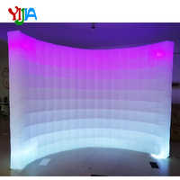 Multi LED Color changing 10ft Wedding Party Photo Booth backdrop Inflatable Wall With LED Strips Top and Bottom wall Sales