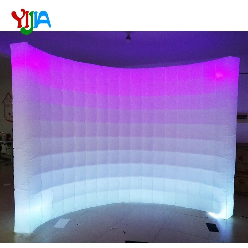 Multi mudança da cor do diodo emissor de luz 10ft casamento festa foto cabine pano de fundo parede inflável com tiras de led parede superior e inferior vendas