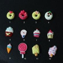 Милая смола для дизайна ногтей, милый торт, кекс, пончик и клубника