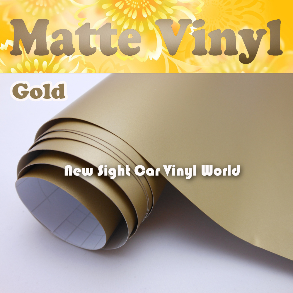 Matte Gold Vinyl Wrap Gold Matt Vinyl Film Car Wrap Air Free Release For Vehicle Wraps Size:1.52*30m/Roll(5ft * 98ft)