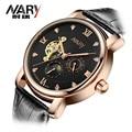 NARY мужская Скелет Механические Часы Победитель наручные часы Человек часы Кожа Relogio Masculino Роскошные Мода Повседневная Наручные Часы