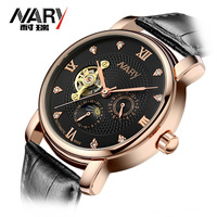 NARY Men S Skeleton Mechanical Watch Winner Wristwatch Man Watches Leather Relogio Masculino Luxury Fashion Casual