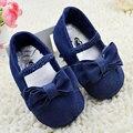 Младенец девочка мягкой подошвой обувь малыша бантом детская кровать в обуви денима прекрасный Prewalker