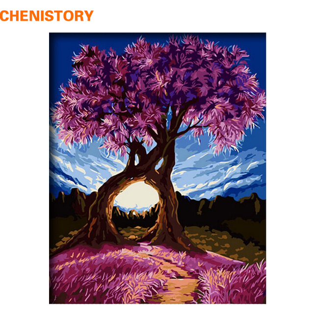chenistory romantic trees diy painting by numbers modern home wall