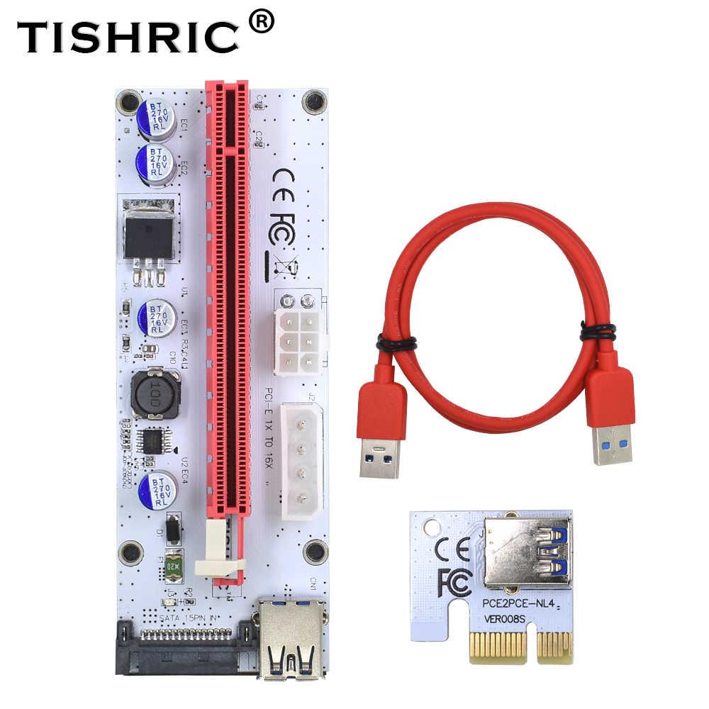 TISHRIC VER008S PCIE 6PIN Molex 4Pin SATA PCI Express PCI-E Riser כרטיס 008 s 008 מתאם 1X ל16x מאריך USB3.0 כריית כורה