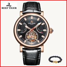 2019  Reef Tiger/RT Fashion Automatic Time Waterproof Watch Men Black Leather Tourbillon mechanical watch relogio masculino