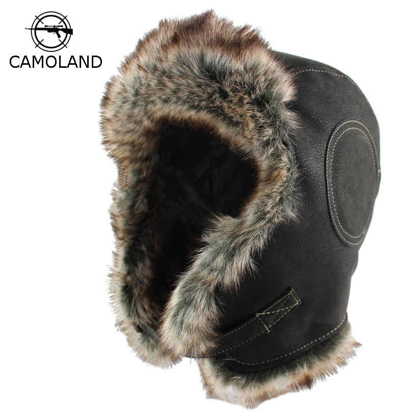 1c2846c703d Winter Soviet Badge Bomber Hats Plush Earflap Russian Ushanka Men Women s  Trapper Pilot Hat Faux Leather