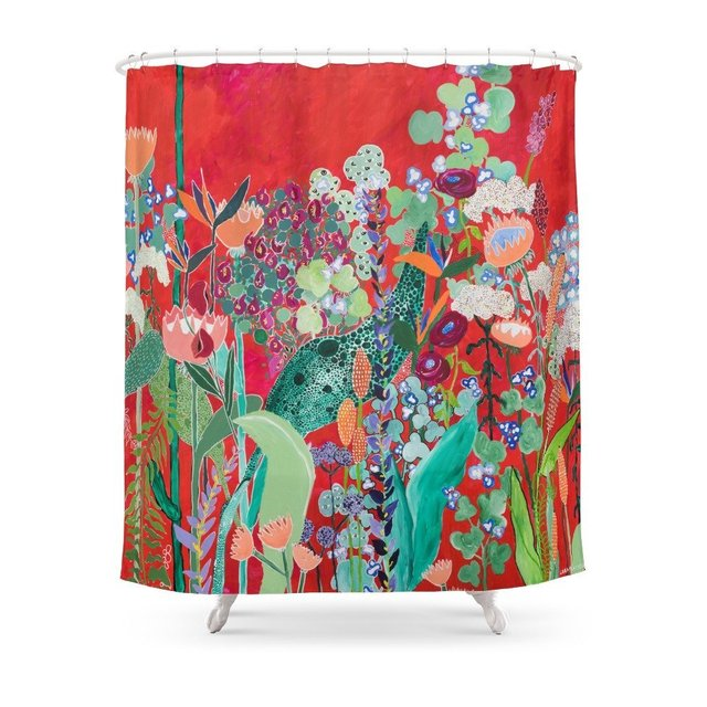 Floral Jungle On Red With Proteas Eucalyptus And Birds Of Paradise Shower Curtain Customized Size