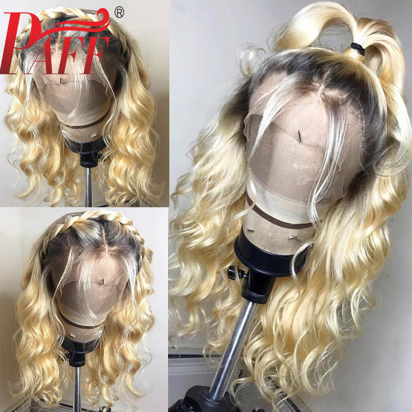 PAFF Ombre Honey Blonde Lace Front Wigs Brazilian Remy Hair Natural Wave Wigs Natural Color Human
