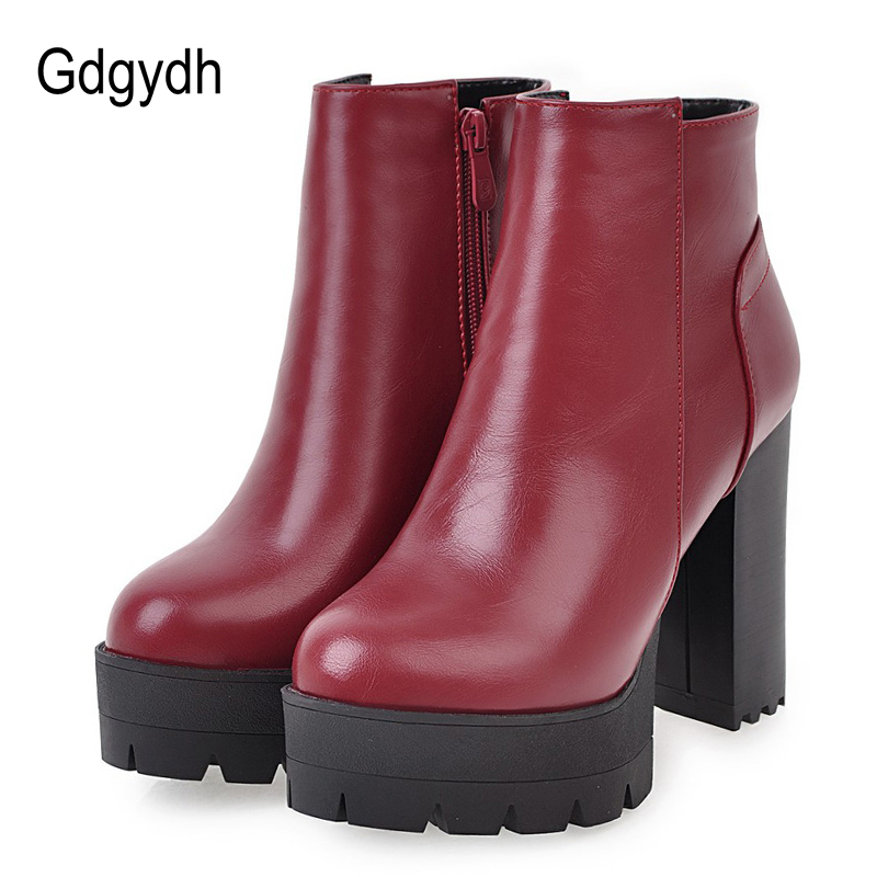 Gdgydh Lente Herfst Vrouwen Laarzen Platform Plus Size Vrouwelijke Laarzen Rubberen Zool Zwarte Hoge Hakken Rode Lederen Dames Casual Schoenen-in Enkellaars van Schoenen op  Groep 1