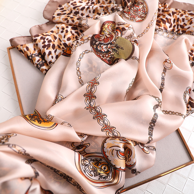 2019 Luxury Silk Scarf for Women Foulard Hijab Lady Beach Shawl Leopard Printed Female Pashmina Scarves sunscreen Headband in Women 39 s Scarves from Apparel Accessories