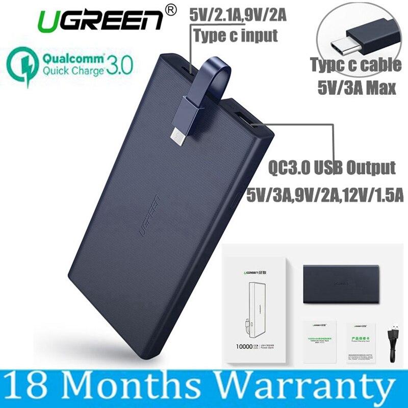 Ugreen 10000 mah Puissance Banque 10000 mah Charge Rapide 3.0 Powerbank Type C pour Xiaomi Mi5 Samsung S8 Nexus 5X6 p Macbook 12 Batterie