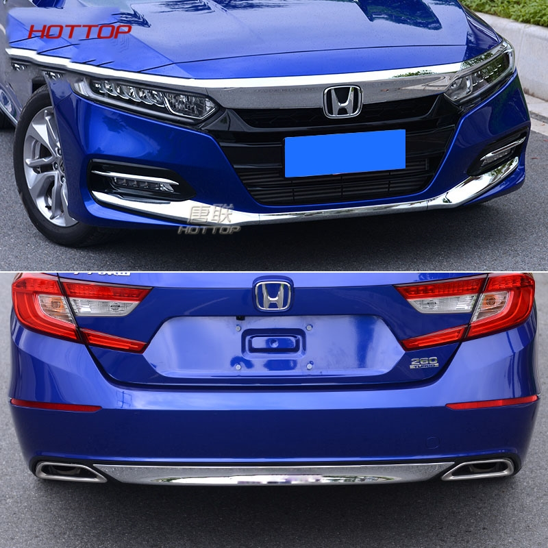 Blue Stainles Front Head Light Head Lamp Cover Trim For 2018 Honda Accord